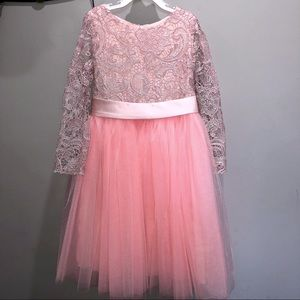 Other - Girls Long Sleeves Lace Top Tulle Skirt Dress